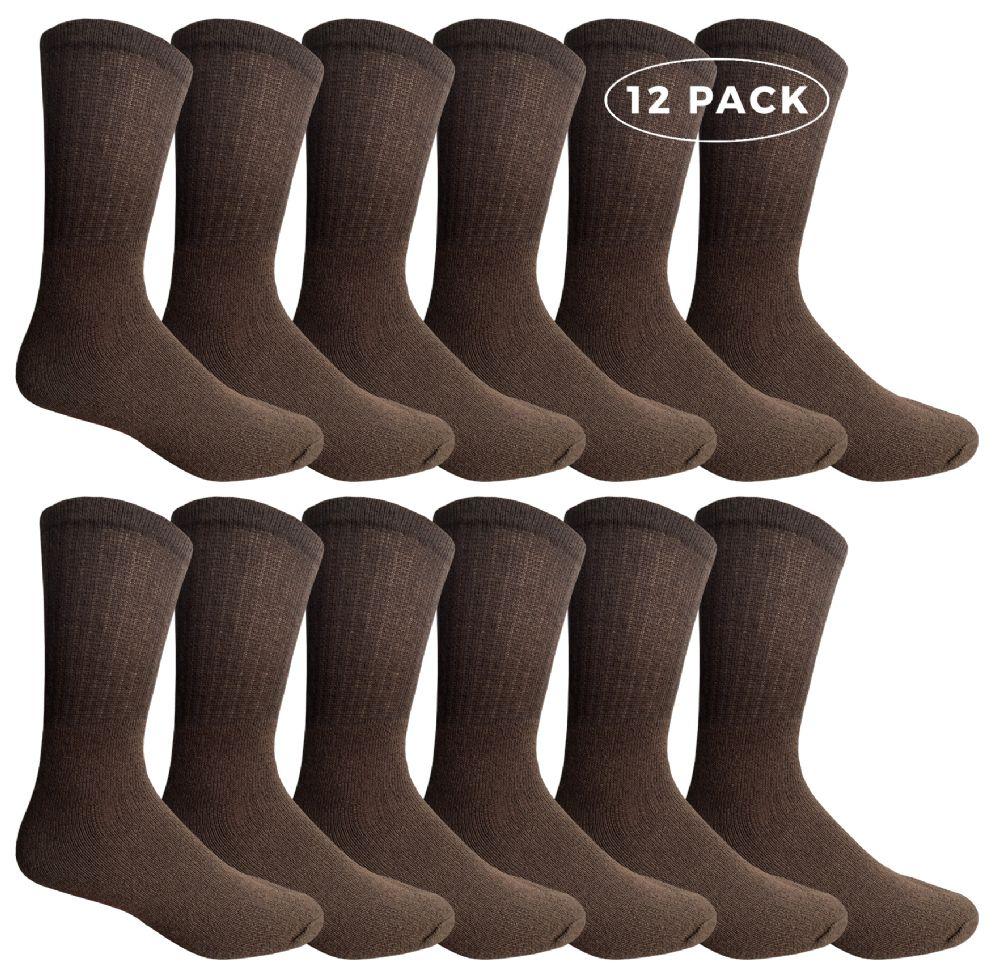 12 Pairs of WSD Mens Cotton Crew Socks, Solid, Athletic (Brown) - Mens Crew Socks