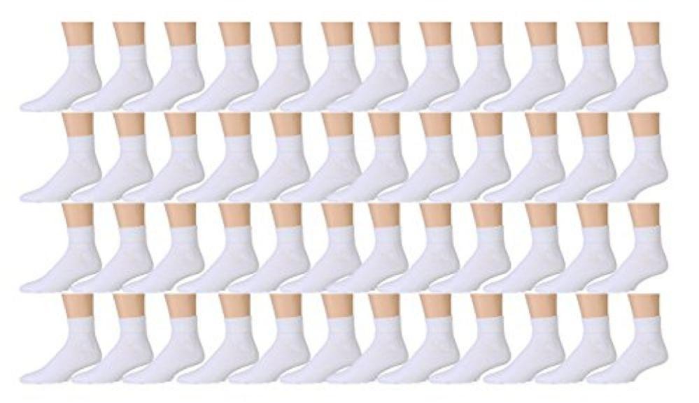 Wholesale Lot 48 Pairs Men's Sport Socks Ankle/Quarter Crew Athletic Socks (White, 10-13) - Mens Ankle Sock
