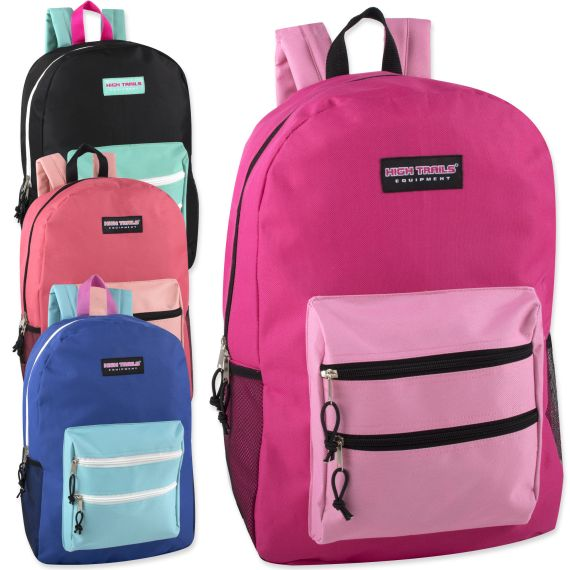 2110ac0e1f2c 24 Units of High Trails 19 Inch Double Zip Backpack With Two Side Mesh  pockets - Backpacks 18
