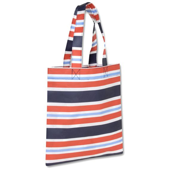100 Units of 10 Inch Printed Non Woven Tote Bag - Stripe Print - Tote Bags & Slings
