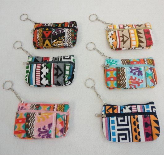 "144 Units of 5""x3"" Two-Comp Zippered Change Purse [Printed] - Leather Purses and Handbags"