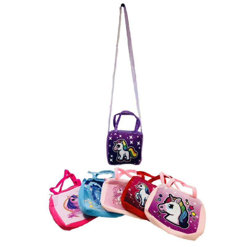 "12 Units of 8.5""x8"" Printed Unicorn Cross Body Purse [Double Handle] - Leather Purses and Handbags"