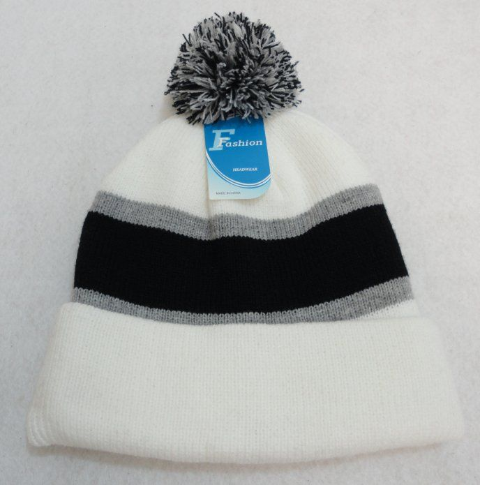 3ab1b13da00c6 12 Units of Double-Layer Knitted Hat with PomPom  Black Light Gray White  -  Fashion Winter Hats - at - alltimetrading.com