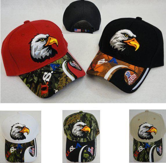 5f50b459327 12 Units of Eagle Head Hat  Red White Blue USA   Flag on Bill  - Baseball  Caps   Snap Backs - at - alltimetrading.com