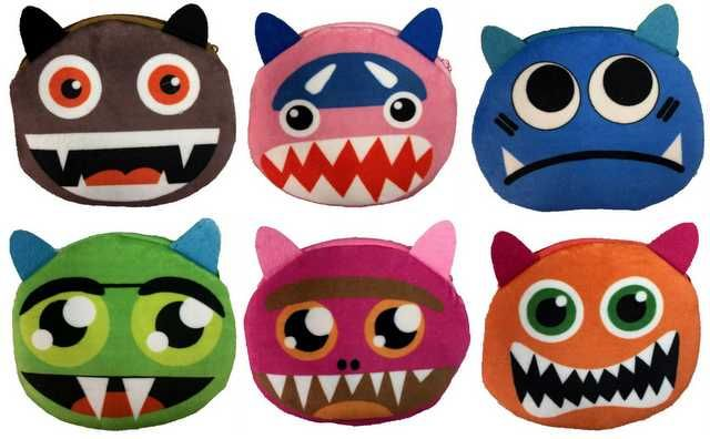 12 Units of Wholesale Round Cartoon Monster Coin Purse Assorted Colors - PURSES/WALLETS