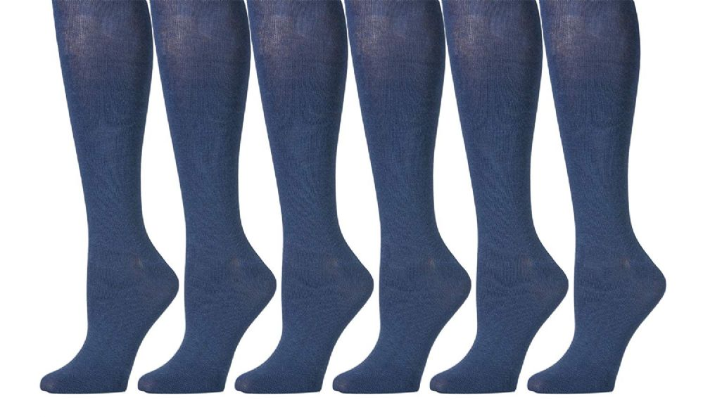 6 Pairs of Womens Knee High Socks, Cotton, Flat Knit, Solid Colors Boot Sock - Womens Knee Highs