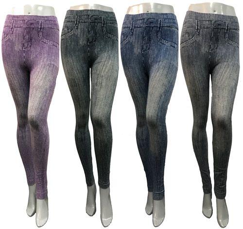 24 Units of Wholesale Distressed Deniem Look Leggings Assorted - Womens Leggings