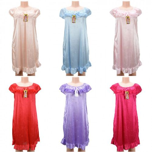 d5340102f7 24 Units of Wholesale Women Pajama Night Gown Short Sleeve Assorted Colors  - Women s Pajamas and Sleepwear - at - alltimetrading.com