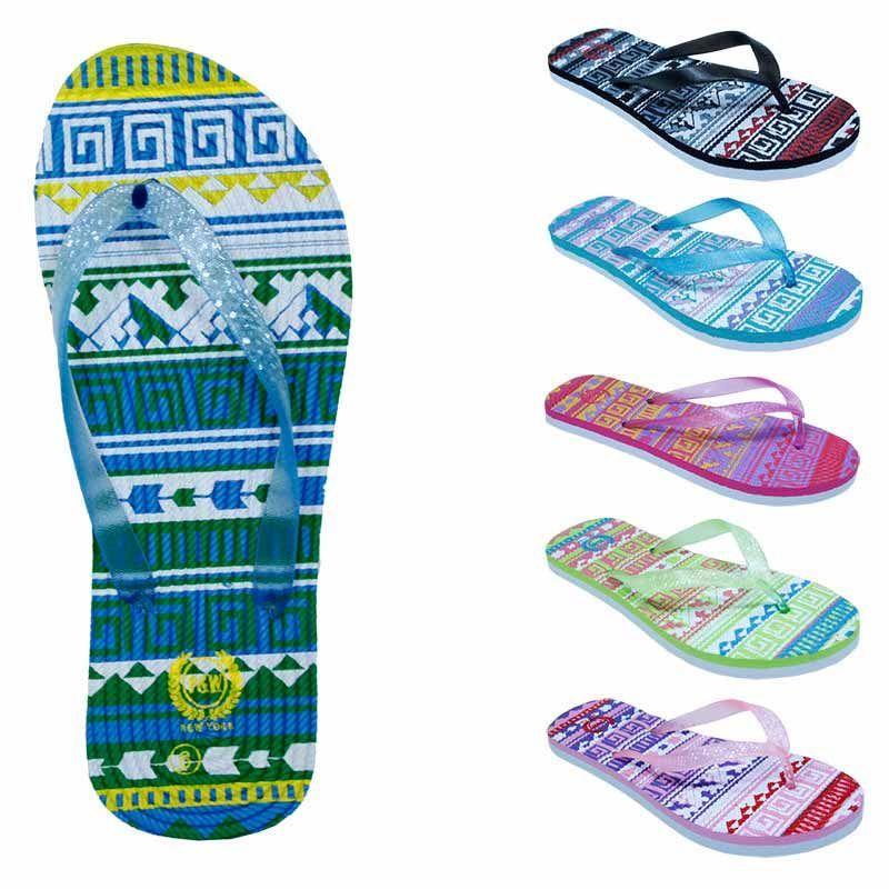 99ccf547c 75 Units of Women s Flip Flops with  Dual Layer Heel   Sparkle Straps -  Tribal Print - Women s Flip Flops - at - alltimetrading.com