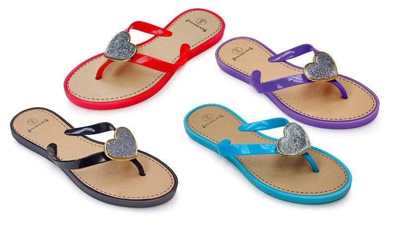 a7062cd47 48 Units of Women s Sandals with  Heart Adornment - Assorted Colors - Women s  Flip Flops