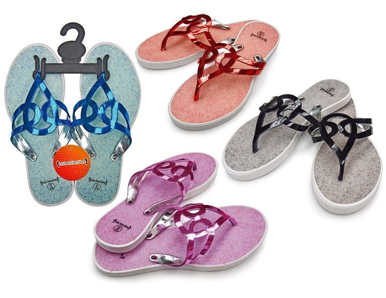 b42204adc 48 Units of Women s T-Strap Sandals with  Matallic Straps - Assorted Colors  - Women s Flip Flops - at - alltimetrading.com