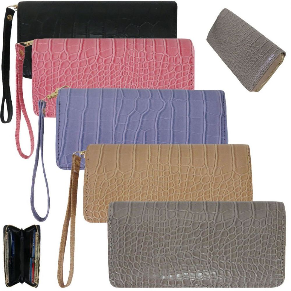 36 Units of Women s Trendy Wallets with  Wristlet - Crocodile Prints -  Leather Purses and Handbags - at - alltimetrading.com b83982bde