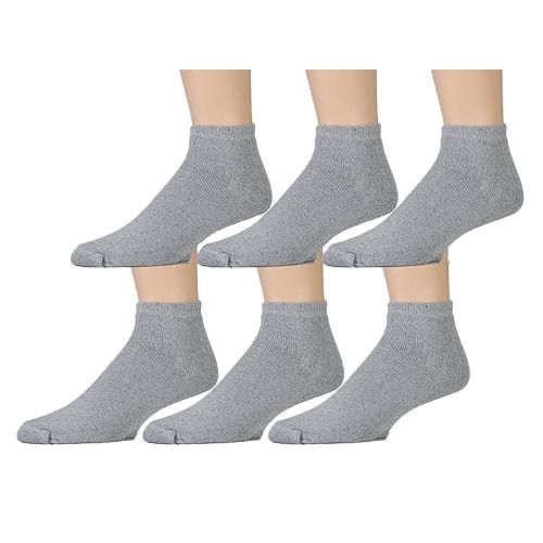 6 Pairs of Kids Sports Ankle Socks, Wholesale Bulk Pack Athletic Sock for Girls and Boys, by excell (Gray, 6-8) - Boys Ankle Sock