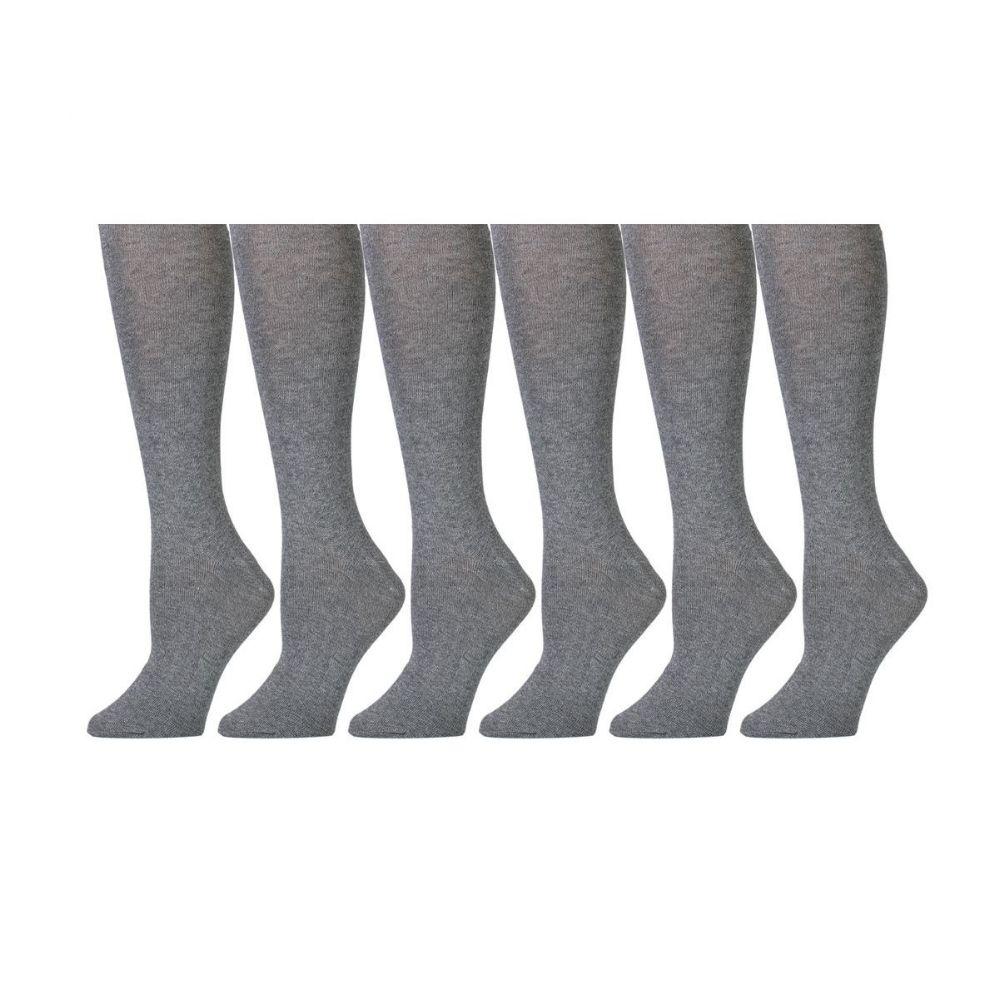6 Pairs of Girls Knee High Socks, Cotton, Flat Knit, School Socks (9 -11 ,Gray) - Womens Knee Highs