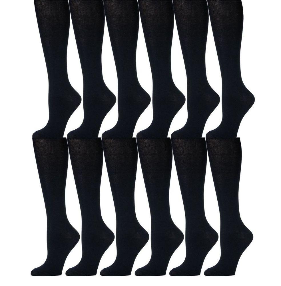 12 Pairs of Girls Knee High Socks, Cotton, Flat Knit, School Socks (6 - 7.5 ,Navy) - Womens Knee Highs