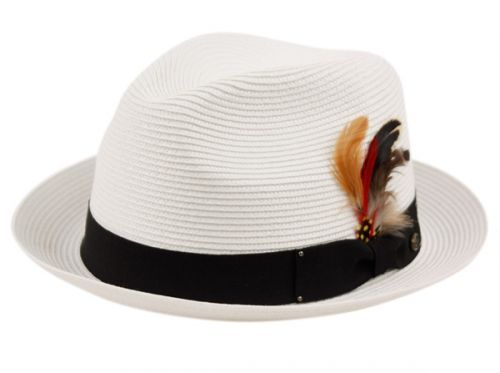 252bc9d3290 12 Units of POLY BRAID FEDORA HATS WITH BAND AND FEATHER - Fedoras ...