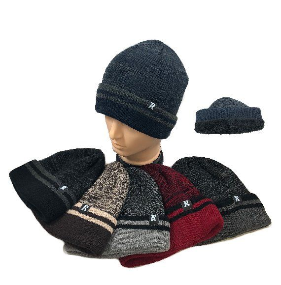 36 Units of Plush Lined Knit Toboggan Variegated Top Striped Fold - Winter Beanie  Hats - at - alltimetrading.com 0f49a795ee7