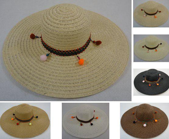 fefe9c20 24 Units of Ladies Woven Fashion Hat Dangling PomPoms - Sun Hats - at -  alltimetrading.com