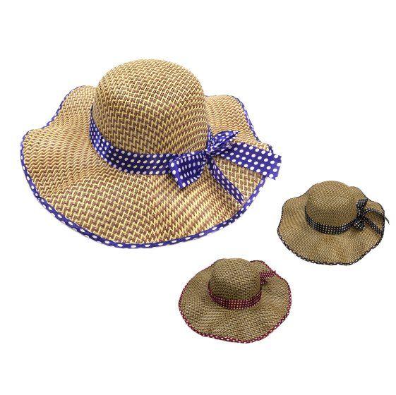0e57b52c47a19 48 Units of Ladies Straw Hat Ruffled Edge Polka Dot Bow - Sun Hats - at -  alltimetrading.com