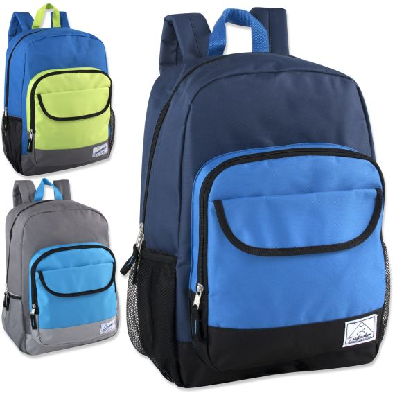 677f166dca 24 Units of 18 Inch Color Block Flap Backpack - Boys Colors - Backpacks 18