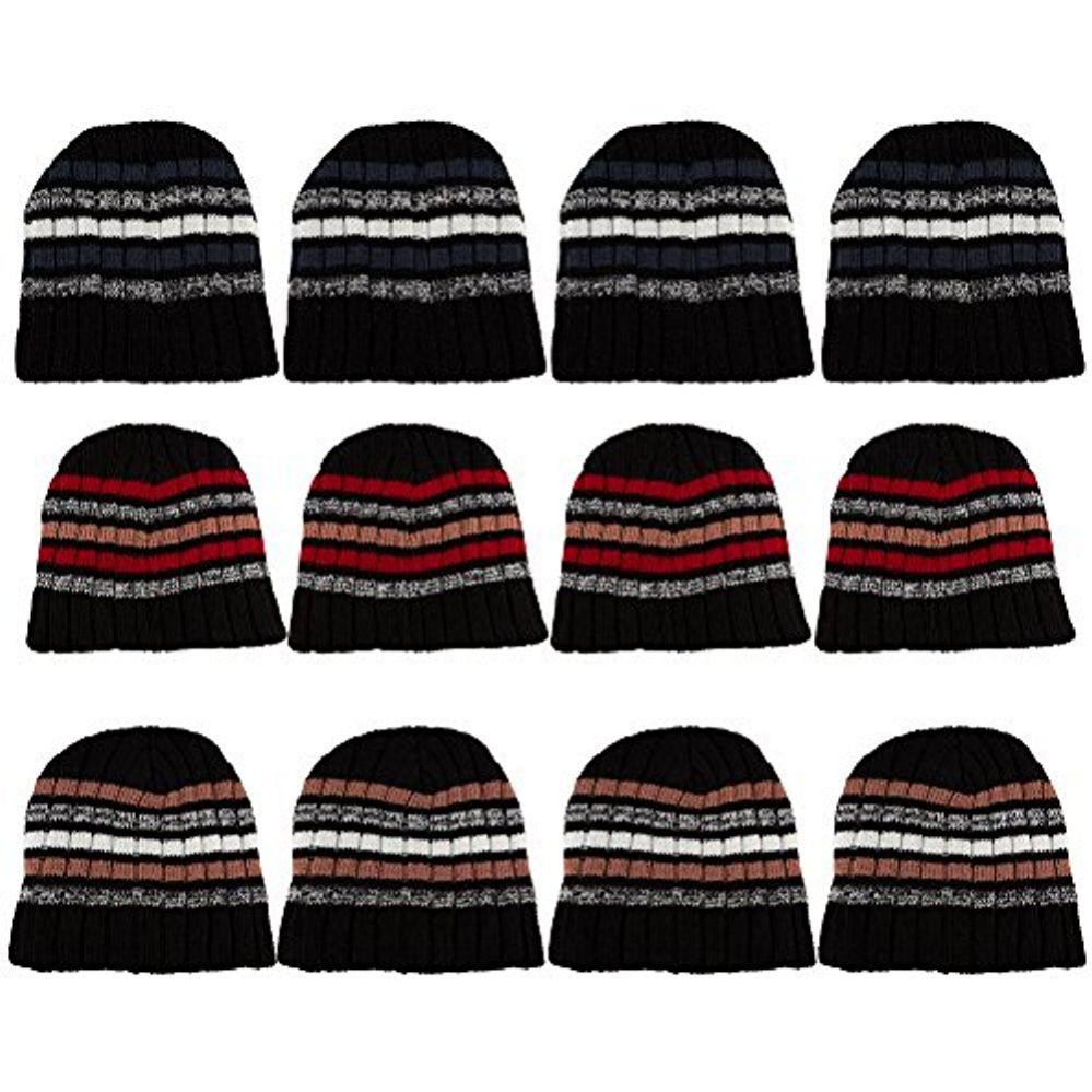 12 Pack Of excell Mens Heavy Ribbed Beanie Winter Hat, Striped Designs - Winter Beanie Hats