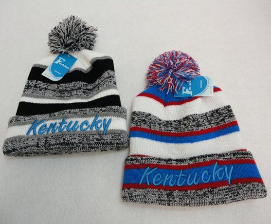 e92ef4e79fd 48 Units of Knitted Hat with Pom Pom Embroidered Kentucky Stripes - Winter  Beanie Hats - at - alltimetrading.com