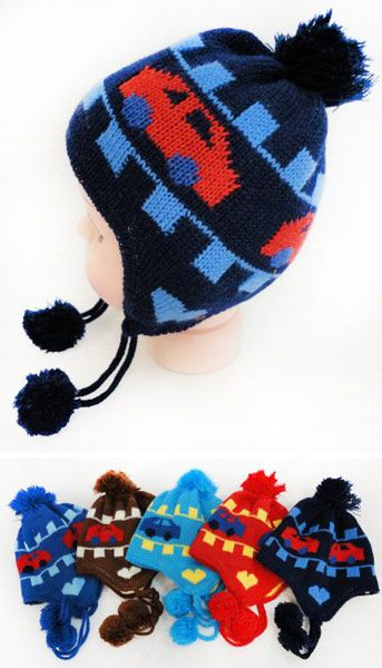 8c2745baf01 48 Units of Toddler Fleece Lined Knitted Car Pattern Cap Ear Flap - Junior    Kids Winter Hats