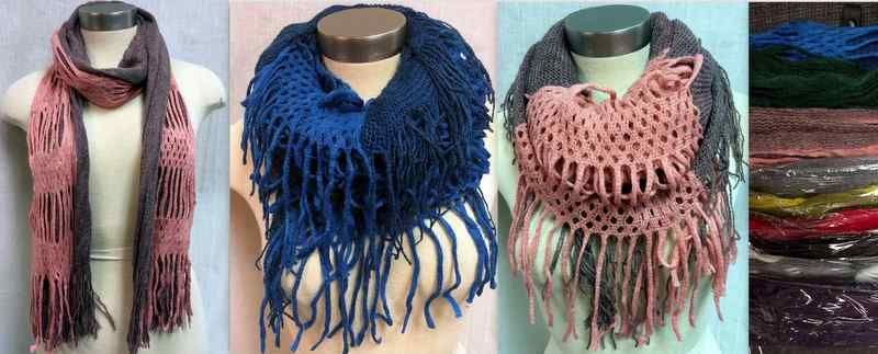 36 Units Of Dual Purpose Dual Pattern Infinity Circle Knitted Scarf