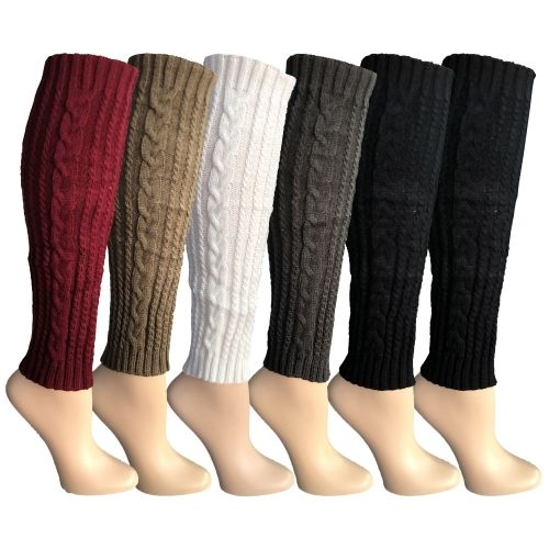 Womens Leg Warmers, Warm Winter Soft Acrylic Assorted Colors by WSD (Cable Knit, A) - Womens Leg Warmers