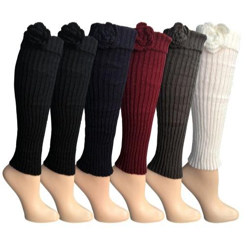 Womens Leg Warmers, Warm Winter Soft Acrylic Assorted Colors by WSD (Flower) - Womens Leg Warmers