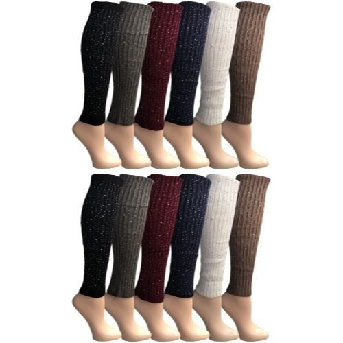 Womens Leg Warmers, Warm Winter Soft Acrylic Assorted Colors by WSD (Sparkle Studs) - Womens Leg Warmers