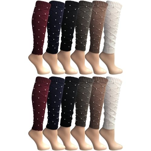 Womens Leg Warmers, Warm Winter Soft Acrylic Assorted Colors by WSD (Pearl) - Womens Leg Warmers