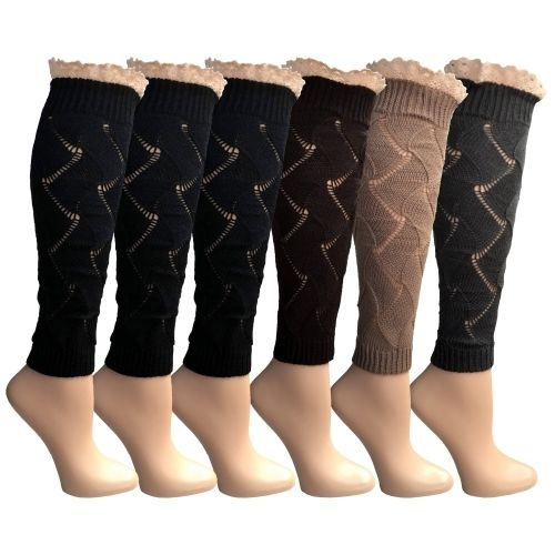 Womens Leg Warmers, Warm Winter Soft Acrylic Assorted Colors by WSD (Lace) - Womens Leg Warmers