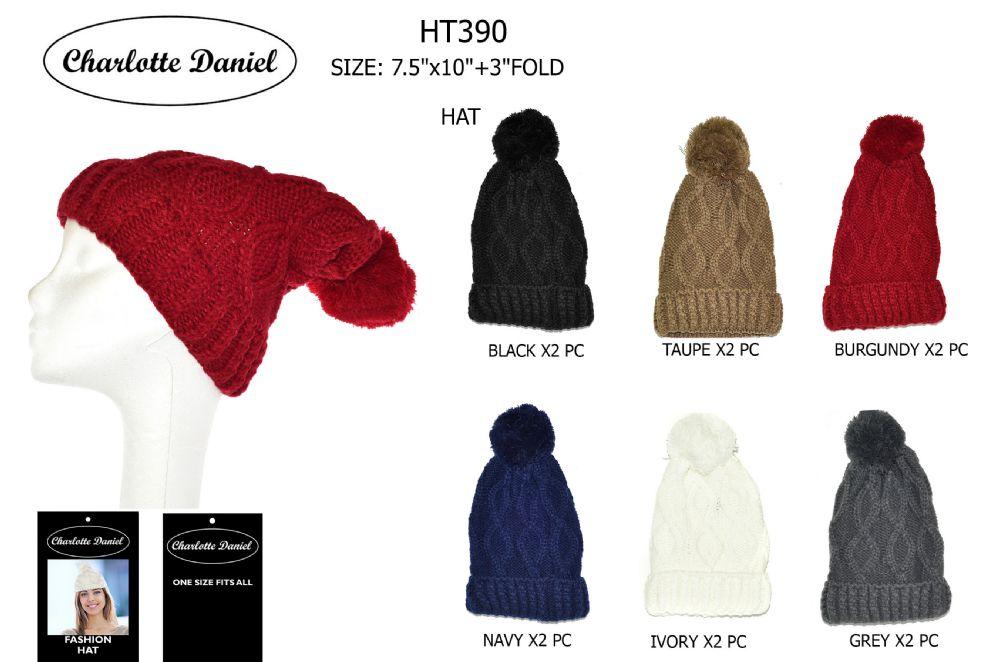 4f6e47fa7fe9a 60 Units of Cable Knit Slouch Pom Pom Winter Beanie - Fashion Winter Hats -  at - alltimetrading.com
