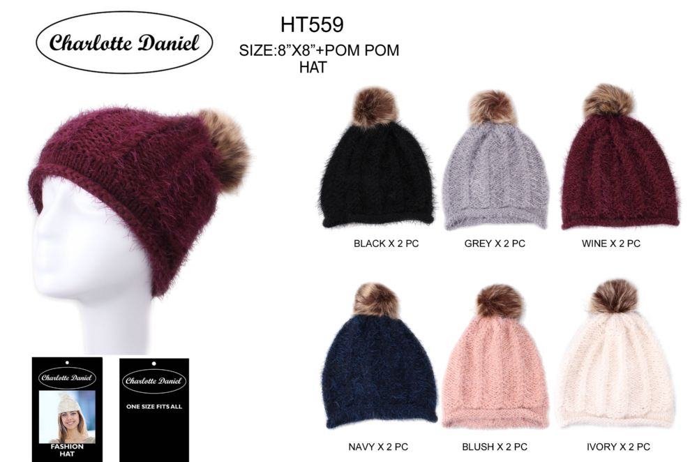 f53feaf28d0 36 Units of Slouch Pom Pom Winter Beanie - Fashion Winter Hats - at ...