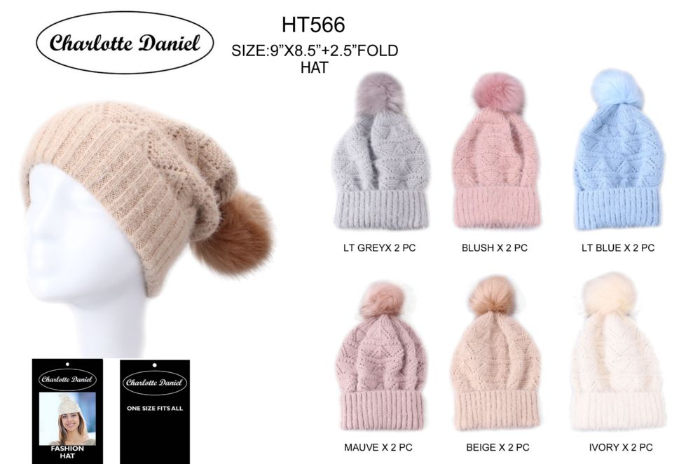 4153734009fe2 36 Units of Slouch Pom Pom Winter Beanie - Fashion Winter Hats - at -  alltimetrading.com