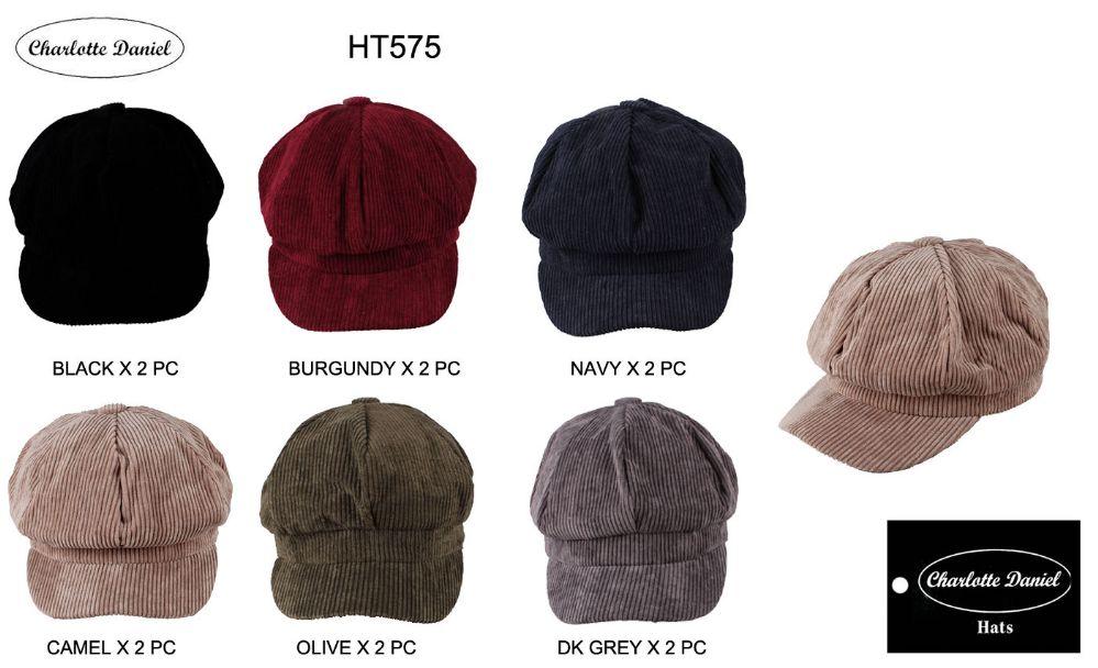 4908c3a532e 48 Units of Unisex Corduroy Newsboy Cap - Fashion Winter Hats - at ...