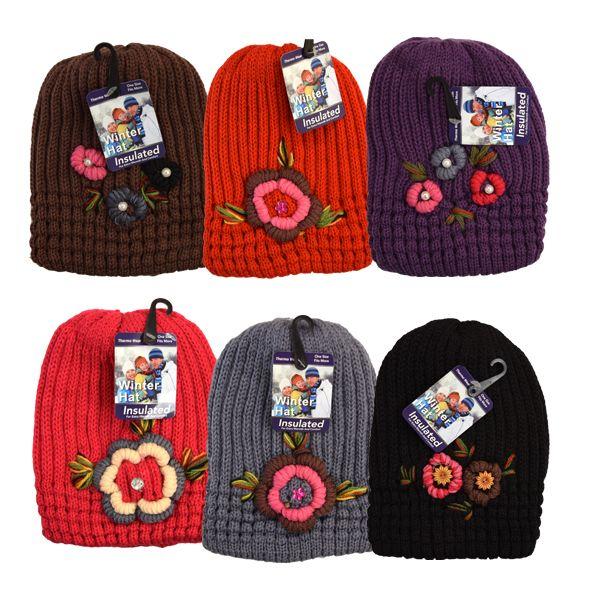 36 Units of Winter Knit Hat Rhinestone Flower Design - Winter Beanie Hats -  at - alltimetrading.com 16642dff995