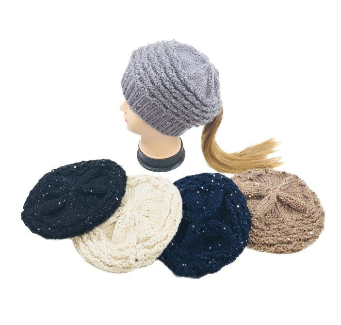 82884aeb3a2a2 24 Units of Knitted Sequined Pony Tail Beret - Winter Beanie Hats - at -  alltimetrading.com