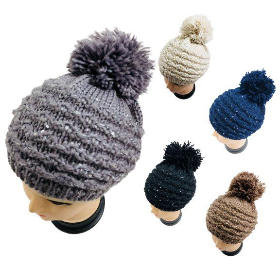 942e2c04e1238 24 Units of Knitted Sequined Beret with PomPom - Winter Beanie Hats - at -  alltimetrading.com