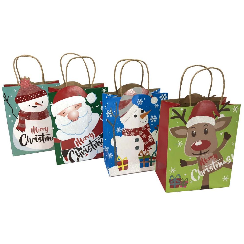 48 units of party solutions glitter christmas gift bag large 10wx5dx13h twisted craft handle astd designs christmas gift bags and boxes - Large Christmas Gift Bags
