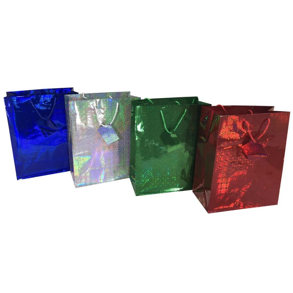48 units of party solutions holographic gift bag large 10wx5dx13h astd colors christmas gift bags and boxes