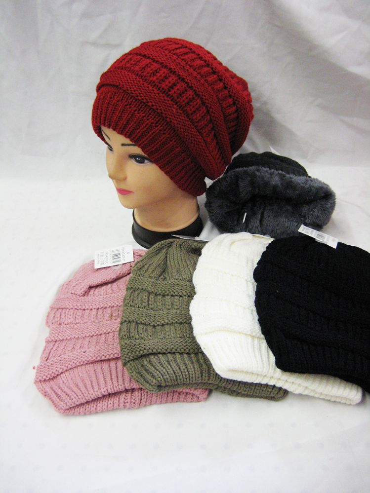 3a805aa536130 36 Units of Unisex Fleece Lined Knitted Beanie Hat - Winter Beanie Hats - at  - alltimetrading.com