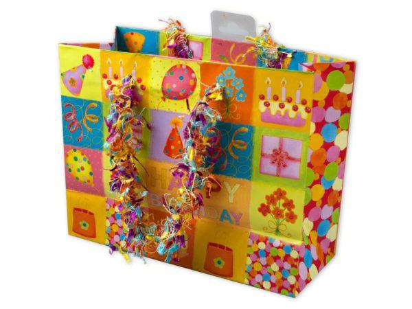 144 Units Of Small Happy Birthday Giftbag With Confetti Handles
