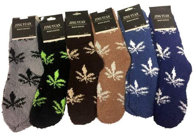 36 Units Of Men S Marijuana Leaf Fuzzy Sock Men S Fuzzy Socks At Alltimetrading Com