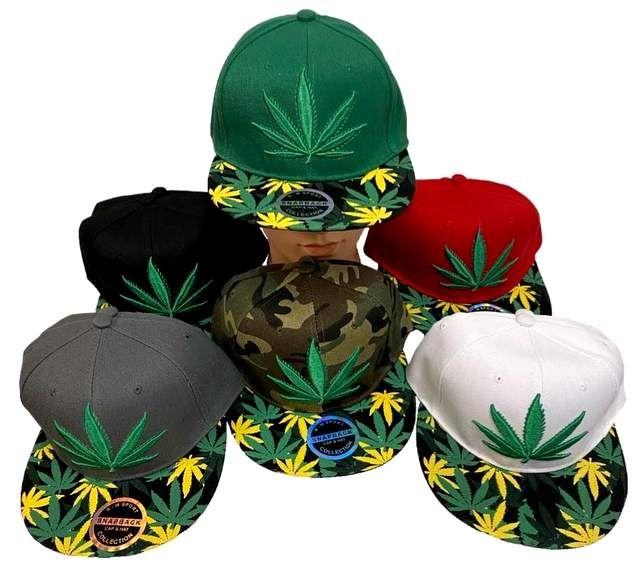 4aadb8cbd5a52 24 Units of Marijuana Leaf Embroderied Printed Bill Snapback Hats - Baseball  Caps   Snap Backs - at - alltimetrading.com