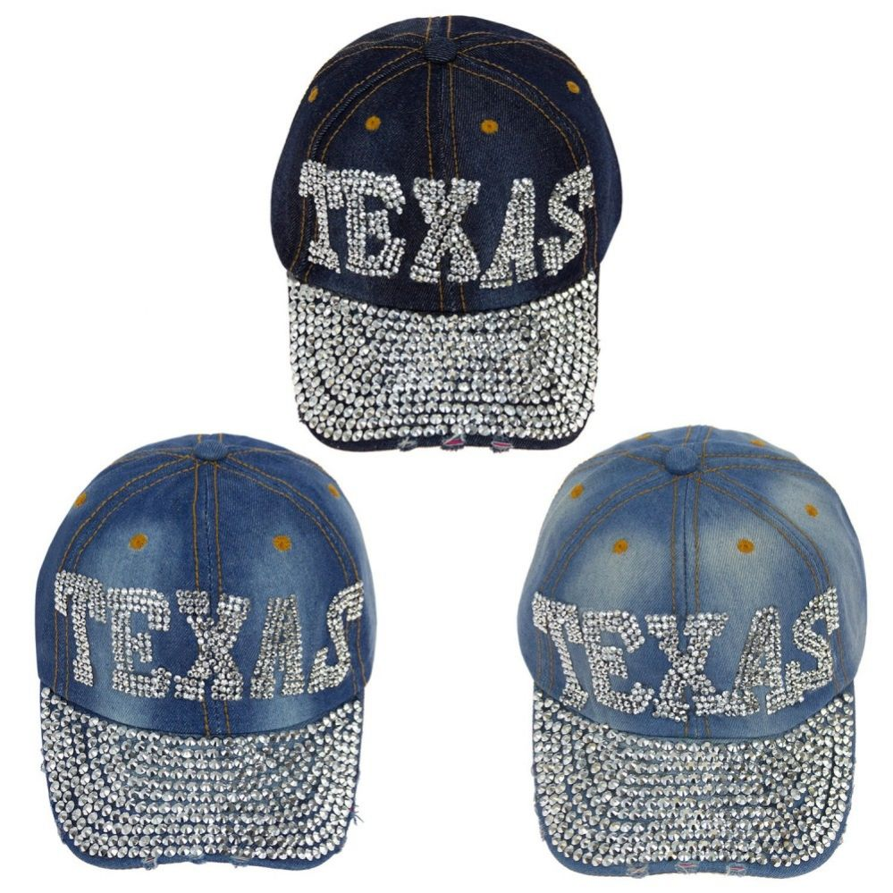 4f0b2e494 24 Units of Adjustable Texas Jewel Rhinestone Bling Studs Baseball Cap -  Hats With Sayings