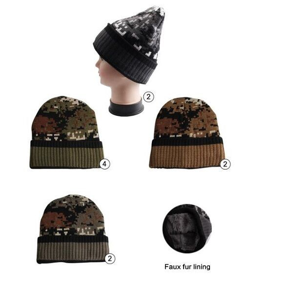 5cc0003054ad8 36 Units of Winter Beanie Hat With Faux Fur Lining Mix Colors Unisex  Camoflauge Print - Winter Beanie Hats - at - alltimetrading.com