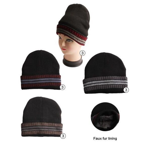 871c432eee18c 36 Units of Winter Beanie Hat With Faux Fur Lining Stripe Colors Assorted - Winter  Beanie Hats - at - alltimetrading.com
