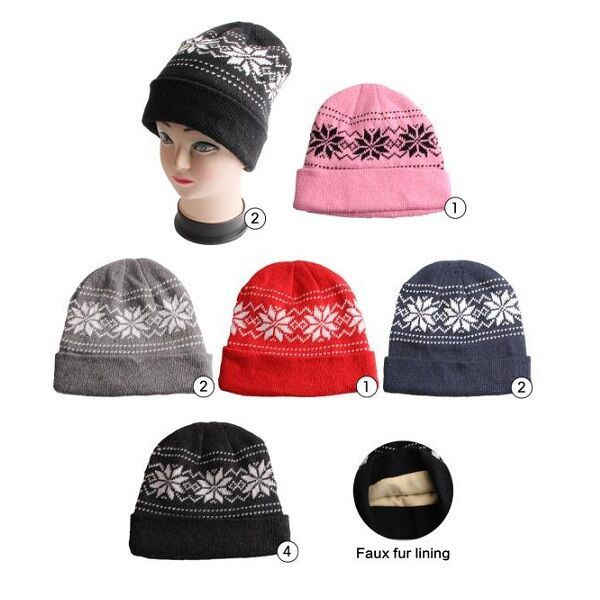 7f814460fe397 36 Units of Winter Beanie Hat With Faux Fur Lining Snowflake Prints  Assorted - Winter Beanie Hats - at - alltimetrading.com